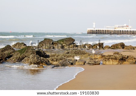 beach in Oostende, Belgium - stock photo