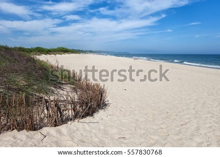 Beach in resort town of Wladyslawowo at the Baltic Sea, popular holiday destination in Poland
