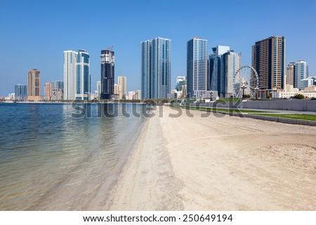Beach in Sharjah City, United Arab Emirates - stock photo