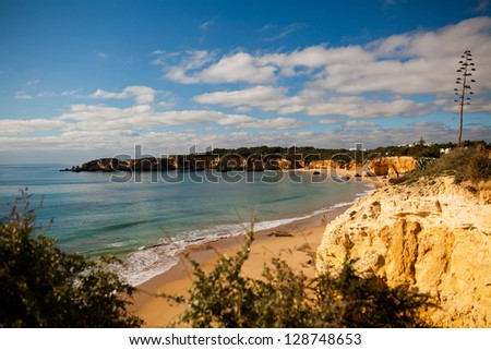 Beach in southern Portugal in Algarve holiday region