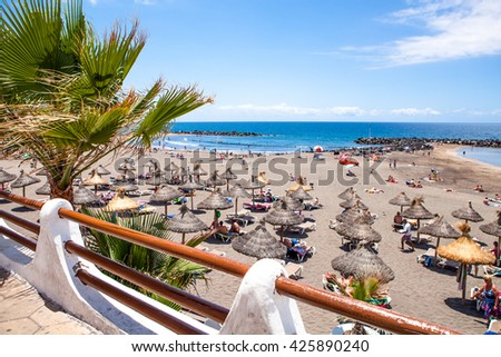 beach in the island of tenerife, costa adeje