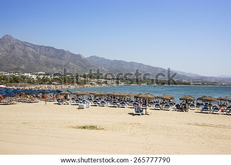 Beach in the Puerto Banus (Spain) luxury resort - stock photo
