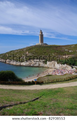 Beach in the the Famous Hercules Tower, La Coruña, Galicia, Spain