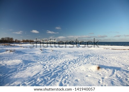 Beach in winter on the Baltic sea shore in Tallinn