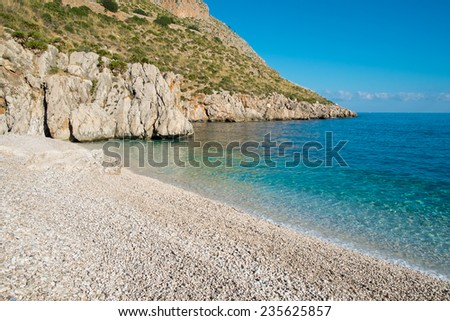 Beach in Zingaro natural reserve between San Vito and Scopelo, Sicily, Italy