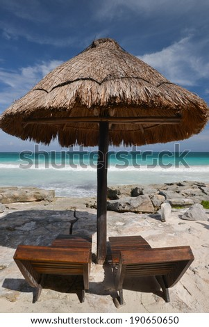 Beach island vacation holiday in the sun. Idyllic travel background. - stock photo