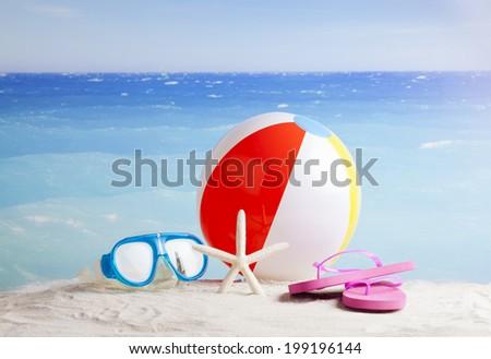 Beach items ,Natural spa resort - stock photo