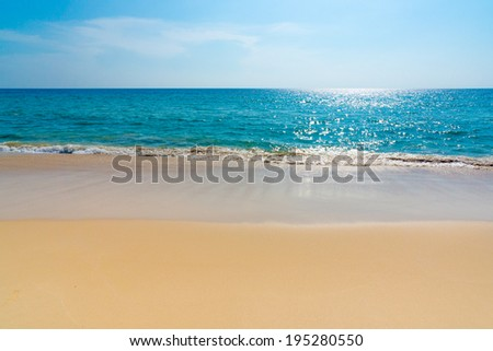 Beach landscape, calm water, nobody - stock photo