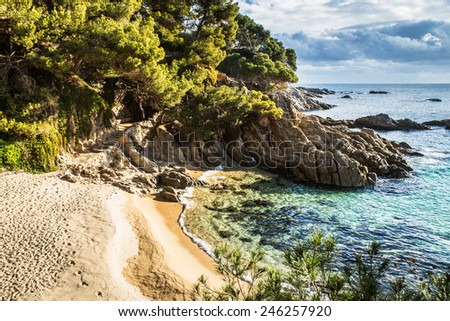 Beach landscape of Calonge, Costa Brava. Spain. - stock photo