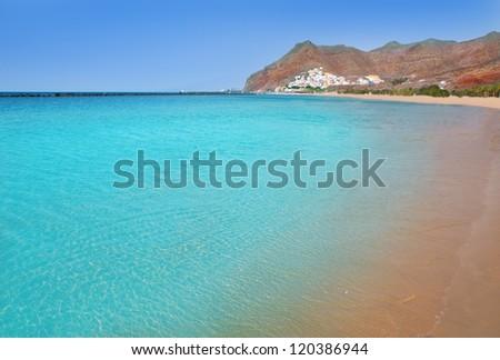 Beach Las Teresitas in Santa cruz de Tenerife north at Canary Islands near San Andres - stock photo