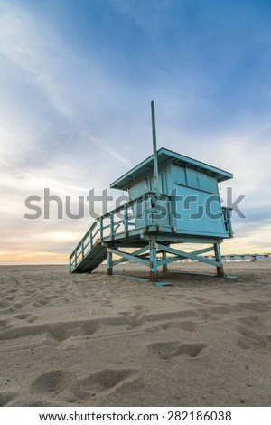 Beach Lifeguard Tower in Hermosa Beach California - stock photo