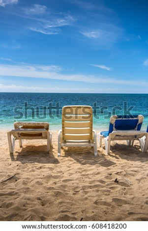 beach lounge chairs playa ancon cuba sunny caribbean ocean - Beach Lounge Chairs