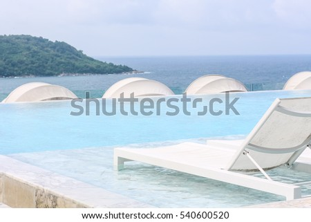 Beach Lounge Swimming Pool With Pool Bed Or Sundeck On Sea View For  Vacation, Relax