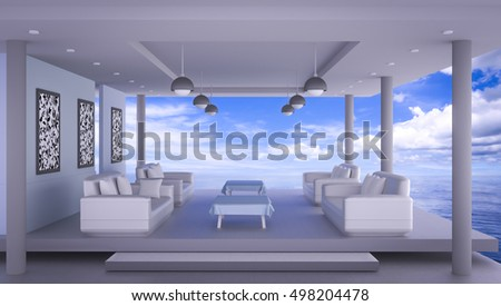Beach lounge with sea and blue sky , Interiors 3D Rendering