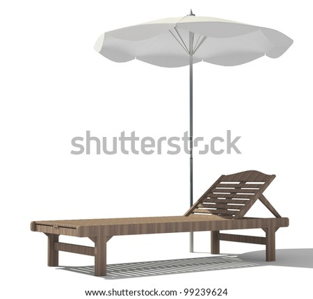 beach lounger with an umbrella on a white background - stock photo
