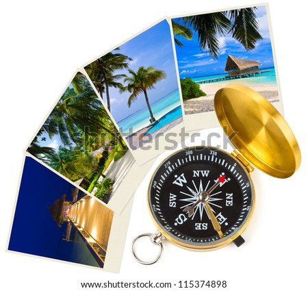 Beach maldives images and compass - nature and travel (my photos) - stock photo