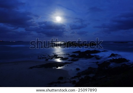 Beach Moonscape in Sawtell Beach at Coffs Harbour - stock photo