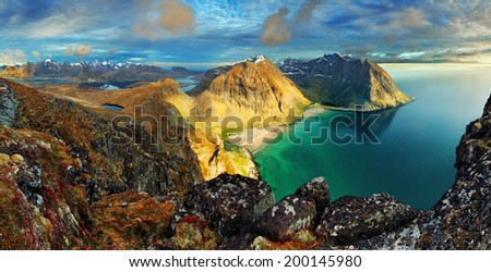 Beach, mountain landscape Norway - Lofoten - stock photo