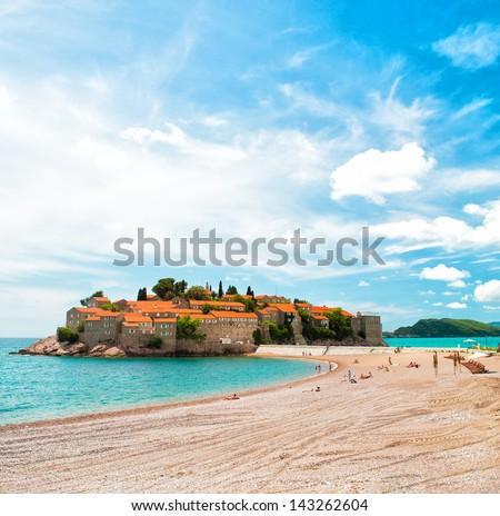 Beach near Sveti Stefan island, Montenegro - stock photo