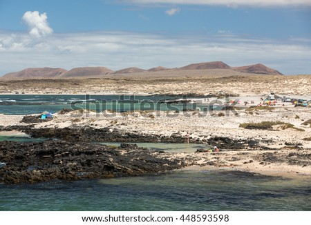 Beach near the lighthouse El Toston, northern part of Fuerteventura . Canary Island, spain