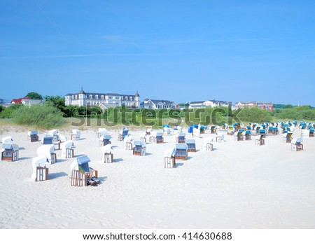 Beach of Ahlbeck on Usedom Island at Baltic Sea,Mecklenburg Western Pomerania,Germany - stock photo