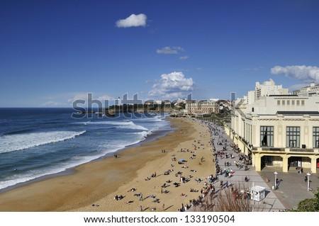 beach of Biarritz - stock photo