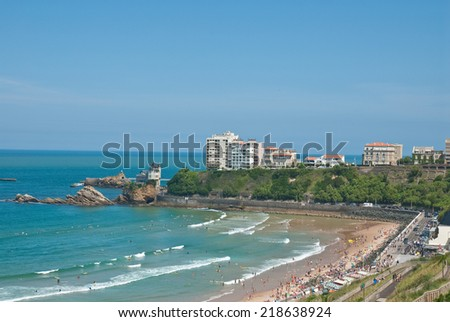 Beach of Biarritz, France   - stock photo