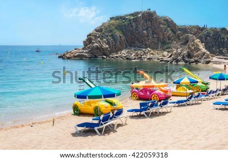 Beach of Blanes. Costa Brava, Catalonia, Spain    - stock photo