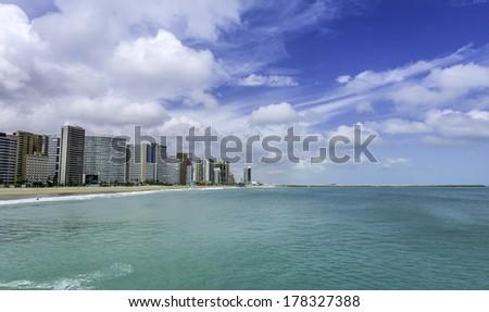 Beach of Fortaleza in Ceara state, Brazil - stock photo