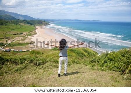 beach of La Vega near to Ribadesella village in Asturias Spain - stock photo