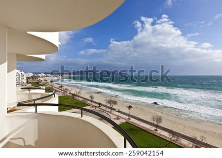 Beach of Mediterranean Sea at Cala Millor - Majorca island, Spain - stock photo