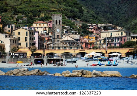 Beach of Monterosso al Mare, Cinque Terre, Italy - stock photo
