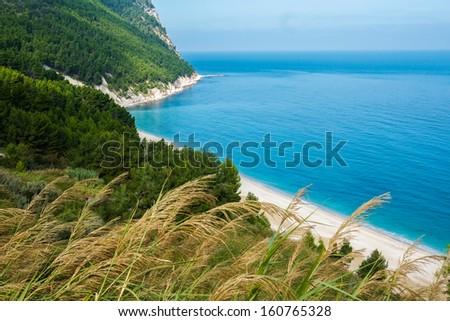 Beach of San Michele in Sirolo, Conero riviera, Italy - stock photo