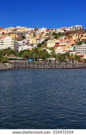 Beach of San Sebastian de la Gomera, Canary Islands, Spain - stock photo