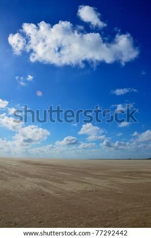 beach of St. Peter Ording at the german Atlantic coast - stock photo