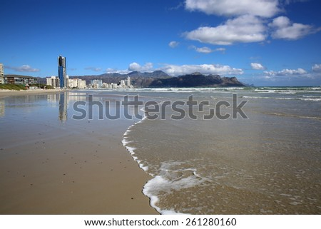 Beach of Strand in False Bay. South Africa - stock photo