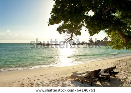 Beach on an island at sunset with 2 loungers and a table under a big green tree - stock photo
