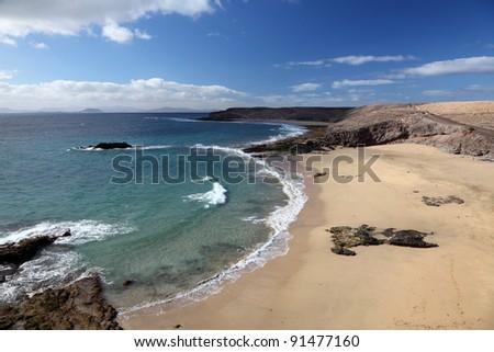 Beach on Canary Island Lanzarote, Spain - stock photo