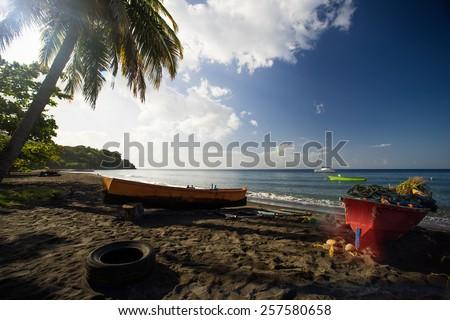 Beach on Dominica, Caribbean Sea - stock photo