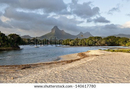 Beach on Mauritius island, Tamarin - stock photo