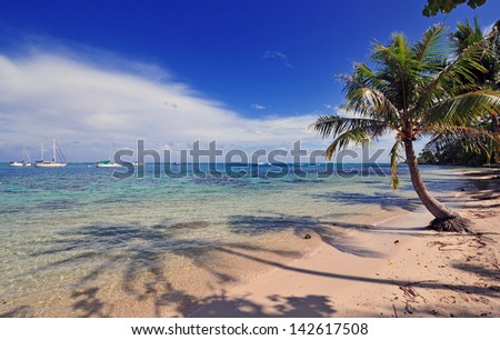 Beach on Moorea, Tahiti in French Polynesia - stock photo