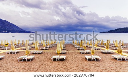 Beach on the coast after the storm - stock photo