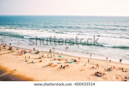 Beach on the Indian Ocean. India (tilt shift lens). - stock photo