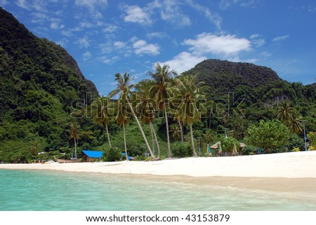 Beach on the main Ko Phi Phi Island in Thailand taken from the sea. Blue sky and palm trees. - stock photo