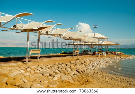 Beach on the shores of the Dead Sea. - stock photo