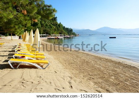 Beach on turkish resort, Fethiye, Turkey - stock photo