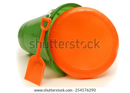 Beach Pail With Scoop And Frisbee/ Beach Accessories For Fun At The Beach - stock photo