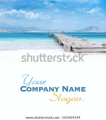Beach paradise with pier and great views, two people - stock photo