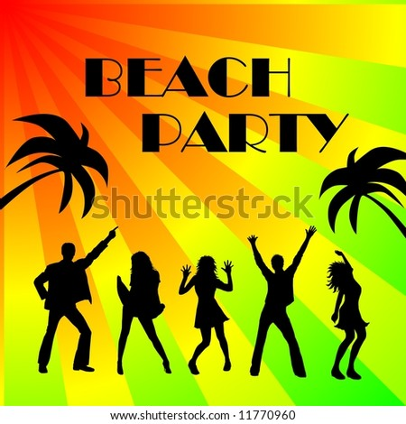 beach party - dancing silhouettes