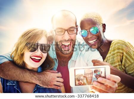 Beach Party Dinner Friendship Happiness Summer Concept - stock photo